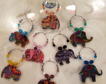 Elephant Elephants  Wine Charms WITH POUCH