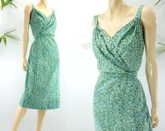 1960s Dress Silk Dress 60s Party Dress 60s Wiggle Dress Surplice Dress Turquoise Blue Green Ikat Sleeveless Dress s