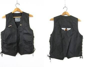 Vintage black leather vest Lace Up Tie Sides Biker vest with Honda Motorcycle Patch Black Tank Vest Men's Size 40 Medium