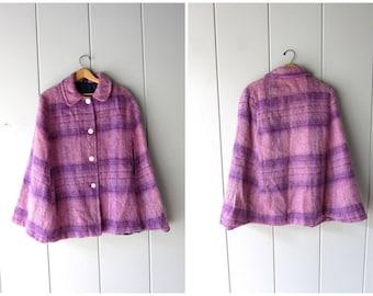60s Purple Wool Cape Coat Fuzzy Spring Caplet Vintage Plaid Wool 50s Jacket Mod Mohair Wool Poncho Modern Cape Womens Small Medium Large