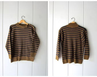 80s Striped Sweater with Buttons at Shoulder Navy Blue & Brown Knit Sweater Mock Neck Pull Preppy Hipster Vintage Womens Small