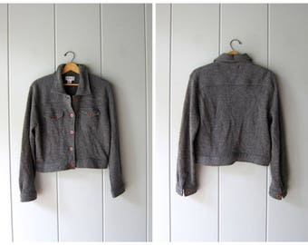 Vintage Grey Wool Sweater Coat Soft Lambswool Cardigan Sweater Button Up Cropped Sweater Jacket Wool Bomber Womens Small Medium