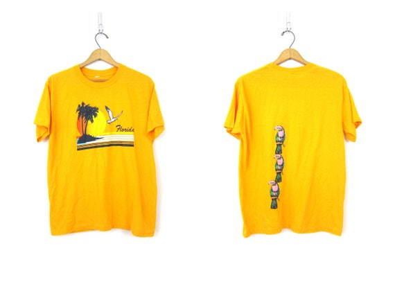 Yellow Florida Tshirt Palm Tree Beach Resort Wear Tourist Shirt Novelty Souvenir Shirt Unisex Size Medium Large
