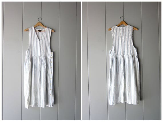 80s Denim Frock White Blue Striped Jean Dress Bib Overalls Dress Vintage Open Bust Washed Out Denim Pinstripes Side Buttons Womens Small