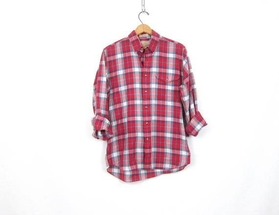 80s Red White Blue Plaid Collar Shirt Button Up THIN Oxford Top Long Sleeve Vintage Preppy Blouse Unisex Medium