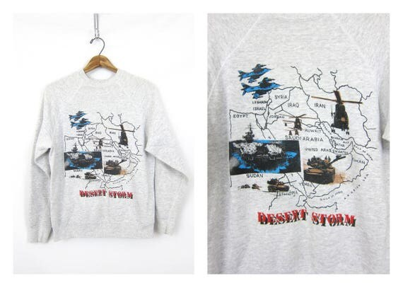 Gray Desert Storm Sweatshirt USA Americana Sweater Vintage washed out Casual Hipster Raglan Sweater Unisex size Small Medium