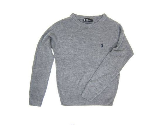 90s Thin Grey Sweater Grey Lambswool Soft Wool Pullover Ralph Lauren Polo Sweater Basic Grey Crewneck Sweater Preppy Pullover Womens Small