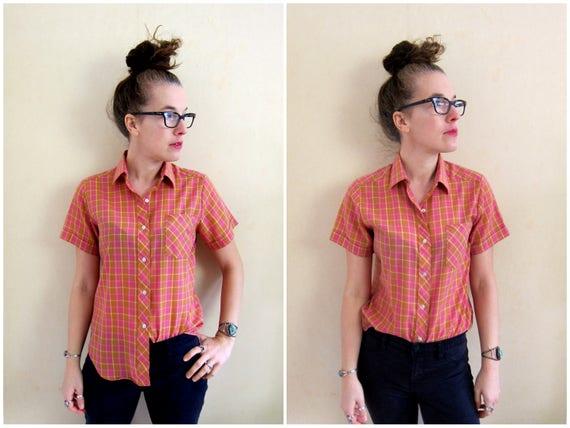 Vintage Plaid Shirt Pink Yellow Button Up Tomboy Shirt Thin Cotton Boyfriend Shirt 80s Short Sleeve Top Boho Hipster Shirt Womens Small