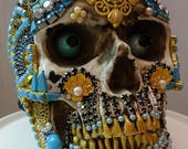 DEATH IN TURQUOISE A One Of A Kind Jeweled Skull Art Piece By Kathi Woodard