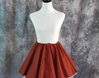 Burnt Orange Full Circle Mini Skirt, Adult Twirl Skirt, Skater, Fantasy, Cosplay One Size Fits Most, Steampunk, Pirate, LARP Garb