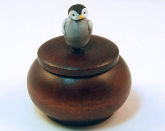 Tiny Wood Trinket Box with Lampwork Glass Baby Penguin Knob/Finial