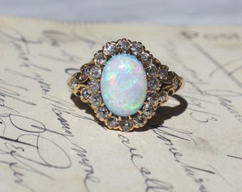 ANTIQUE DIAMOND OPAL Victorian era 14k gold Euro cut diamond 1.5 carat Australian opal vintage engagement ring size 6 circa 1880s