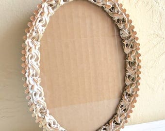 Beautiful Vintage Gold with White Metal Filigree Picture Frame Oval - Stand or Hang