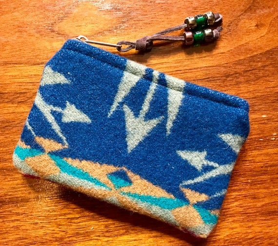 Wool Coin Purse / Phone Cord / Gift Card Holder / Zippered Pouch XL Blue Echo Peaks