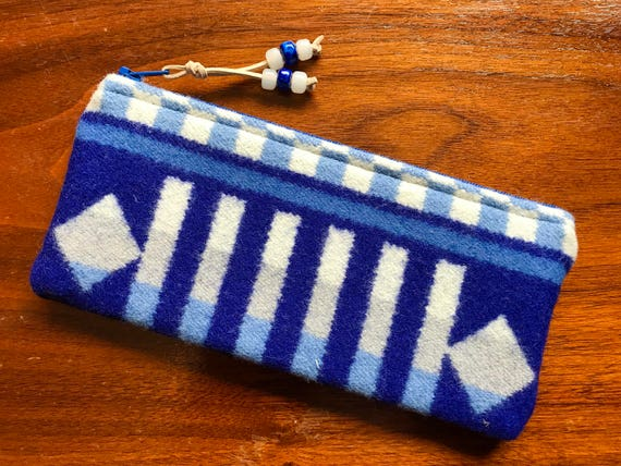 Wool Sunglasses Case / Glasses  Case / Tampon Case / Zippered Pouch Sapphire Blue & White