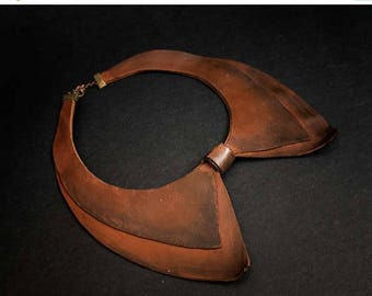 40% OFF SALE Leather collar necklace Rustic brown color Jewelry Pendant Statement Black and gold color