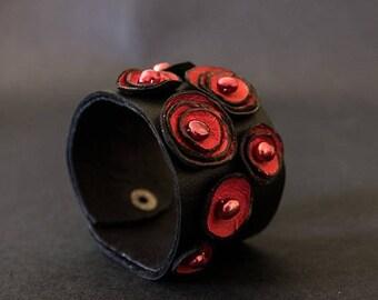 40% OFF SALE Stylish red wide women leather bracelet cuff wristband with pearls Geometric Jewelry