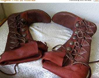 christmasinjuly HANDMADE Leather and Doeskin Lace Up Moccasins