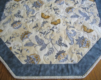 Quilted Table Topper in a Yellow and Gray Floral with Butterflies - NEW PATTERN