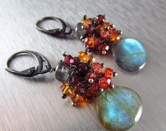 25 OFF Labradorite With Rhodolite Garnet, Orange and Red Quartz Cluster Oxidized Sterling Earrings