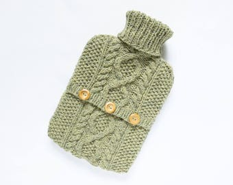 Hot water bottle cover / sweater - 90 per cent wool / 10 per cent silk - Loveage. Hand Knit Bottle Cosy / Cozy.