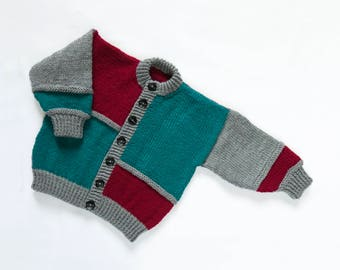 Boys Block Colours Cardigan. Hand Knit Cardigan.Hand Knit Sweater. Hand Knit Childrenswear.