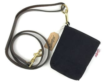 Dog waste bag dispenser combo with solid brass carabiner - Original Waxed Canvas Fabric - Black