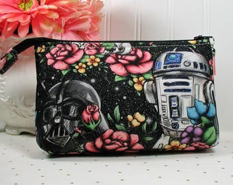 Black Floral Wars Zipper Pouch/ Star Wars Pouch /Floral Star Wars Pouch