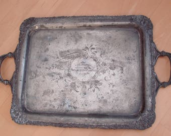 1912 Old VINTAGE BEAUTIFUL Shape Heavy Canada made  Silver Plated SERVING Platter Handel
