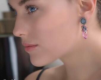 Opal Earrings, Australian Black Opal Earring, Sapphire Gemstone Cluster, Diamond Bezel Style Pink Topaz Briolette Earring October Birthstone