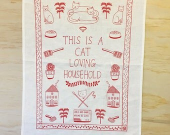 Tea Towel - This is a cat loving household