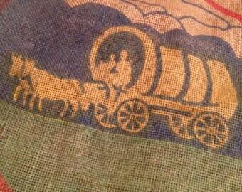 Vintage Burlap Bag / Plainsman Grain and Feed Company / Covered Wagon Design /