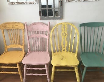 Vintage Farmhouse Chairs Solid Wood Painted MIX MATCH And Colors Distressed Rustic Dining