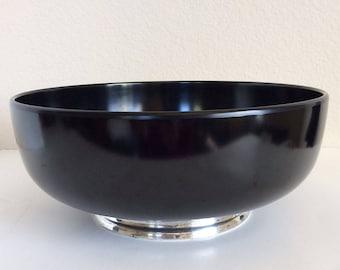 Towle Sterling Black Melamine Bowl, Mid Century Salad Bowl, Vintage Plastic Serving