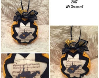 HANDMADE QUILTED Ornament /blueand gold/2017 West Virginia Ornaments/Mountaineers/Quilted/Quilt/Christmas/Team (Ready to Ship)
