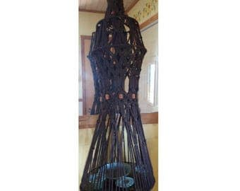 Vintage retro plant hanger table brown yarn rope large hanging home decor