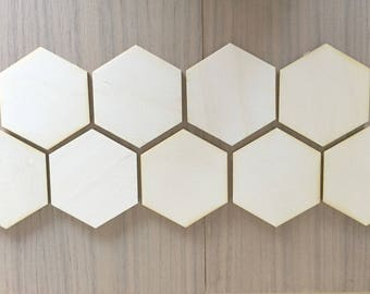 12 Pieces- Craft Wood Shapes - Hexagon Wood Shapes - Geometric Wood Shapes Wood Hexagons