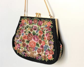 1960's Petit Point Black Handbag - Floral Tapestry Needlepoint Purse - Petit-point real hand embroidery