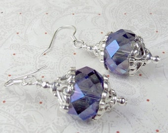 SALE, 50%, Medium Sapphire Blue with AB czech faceted earrings dangle