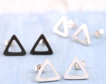 Triangle earrings | Triangle stud earrings | Geometric earrings | Silver earrings uk | Black earrings | Teen earrings