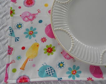 Single Fabric Placemat, Little Birds Placemat, School Placemat, Girls Placemat, Pink Polka Dots Placemat and Napkin