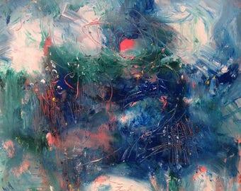 Wonder /  Expressive abstract ocean space  painting green blue  orange art  10 x 10 in, Russ Potak