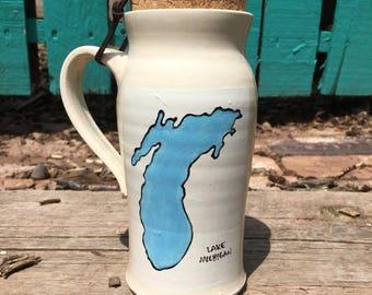 Ceramic Turquoise Lake Michigan Travel Mug