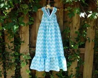 Halter Maxi Dress: Toddler Little Girls 5t Aqua Chevron READY TO SHIP