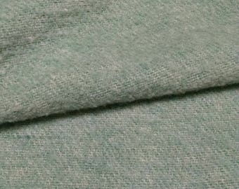 Wool Blanket / Light  Green Wool Material /  Vintage  Felted Wool Fabric / Vintage Bedding for Fabric / Craft Supplies /