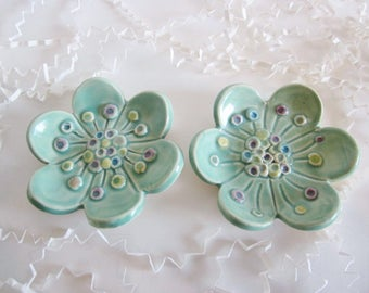 2 Nested hand painted dishes, ring holder, ring dish, kitchen storage, soap dish, spoon rest