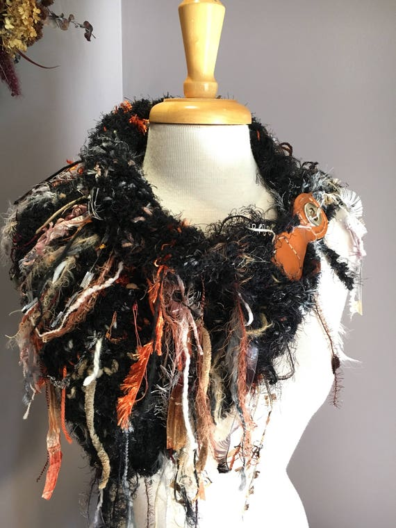 Handknit Shag Art Boho Cowl with leather clasp closure, 'Fetish' Series, Knit Collar, Black Rust Cowl with fringe, art yarn cowl, funky cowl