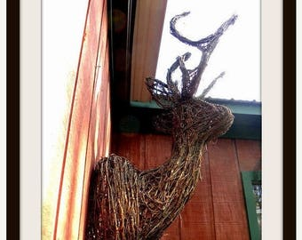 Save25% 6 point buck-Lifesize Grapevine Deer statue Wall hanger-Cabin Decor-Christmas Decorations-Forest Creatures