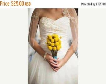 Save25% 20 craspedia-dried naturally-EXTRA Long stem-Craspedia-Billy Balls-Billy Buttons-Dried Yellow Wedding Flowers-Bundle of 20