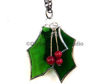 Holly Berry Necklace Christmas Jewelry Red Berry Evergreen Yule Yuletide Pagan Glass Pendant Goddess Canadian Handmade  Original Design©